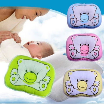 1PCS Soft Baby Infant Bedding Bear Print Oval Shape 100% Cotton Baby Shaping Pillow High Quality = 1930507972