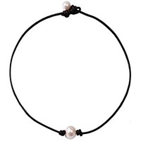 Handmade Genuine Leather Choker Necklace for Women Freshwater Pearl Jewelry