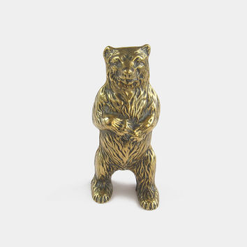Solid Brass Standing Bear Money Box - metal grizzly bear penny coin piggy bank animal ornament figurine vintage