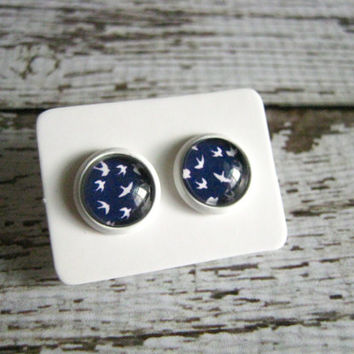 Blue Bird Stud Earrings : Nautical Glass