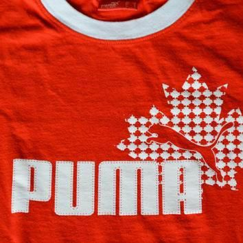 vintage red and white puma ringer cotton t shirt size s small retro tee sports t sh  number 1