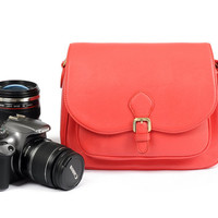 Leather-Canvas DSLR/SLR Camera Bag in Red