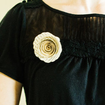 Flower Brooch Pin or Boutonniere made from Books - Paper Accessory for Women and Men - Wedding Flower Under 10 Dollars