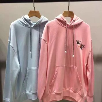 Burberry Embroidered Logo Jersey Hoodie