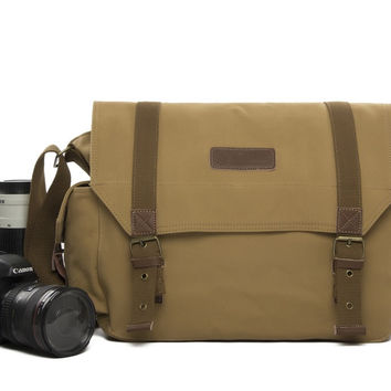 Vintage Fashionable Canon Nikon Canvas Camera Bag Casual One shoulder SLR Camera Bag F1001 Yellow