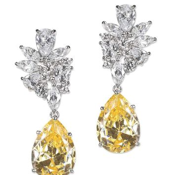 CZ by Kenneth Jay Lane - Canary Yellow Cluster Pear Drop Earring