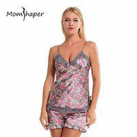 Women Sleepwear Nightgowns sexy lingerie Home Clothes Women summer Female pajamas Floral Sleepwear Silk Pajamas Lingerie Set