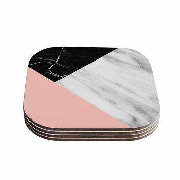 "Cafelab ""Marble Collage With Pale Pink ""  Gray Pink Coasters (Set of 4)"