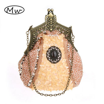 HOT 2017 New Evening Bag Handmade Glass Beads Clutch Bag Delicate Banquet Bags Vintage Wedding Party Purse free shipping 03321