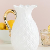 Large Pineapple Jug With Gold Handle