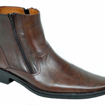 Baronett Men's Dress Ankle Dual Zip Brown Genuine Leather Boots