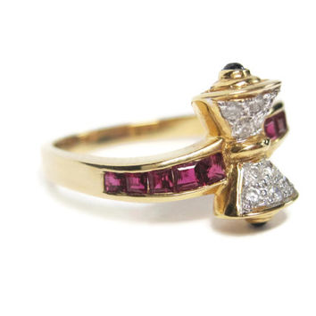 Estate 18K Ruby Sapphire and Diamond Hourglass Ring Size 6.5
