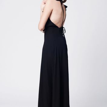 Abigail crossed maxi dress with ruffle front - Black