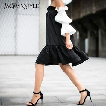 [TWOTWINSTYLE] 2017 black hit white ruffles sleeve off the shoulder slash collar princess pleated dress women new