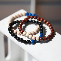 Mens Wood Bar Bracelet - Wooden Bracelet For Men