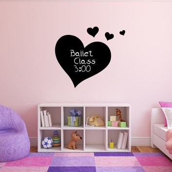 Chalkboard Hearts Silhouette Girls Bedroom Vinyl Wall Decals