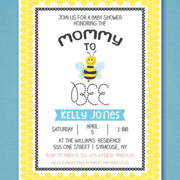 """Mommy to Bee Baby Shower Invitation 5x7"""""""