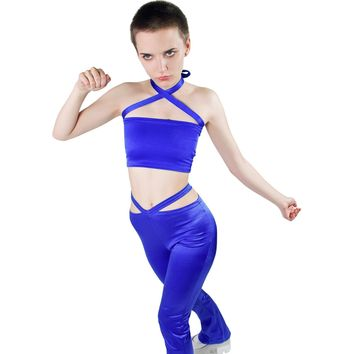 Double Cross Royal Blue Tube Top