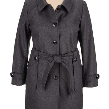 Plus Size - Charcoal Hooded Coat With Belt - Gray