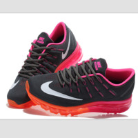 """NIKE"" Trending Fashion Casual Sports Shoes AirMax Toe Cap hook section knited Black red roses soles"