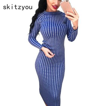 skitzyou Winter Women Knitted Long Sleeve Sweater Dress Elastic Slim Sexy Bodycon Black O Neck Party Fit Dresses vestidos
