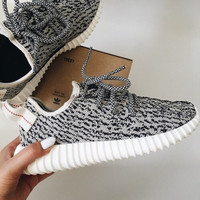 "Fashion ""Adidas"" Yeezy Boost Solid color Leisure Sports shoes gray black dots"
