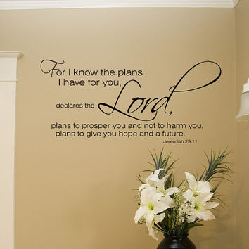 For I Know the plans for You, Jeremiah 29:11,  wall art decal, Bible verse wall decals, Christian decals,