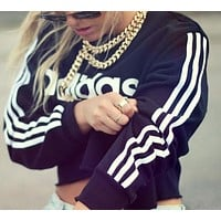"""Adidas"" Popular Women Print Long Sleeve Crop Top Pullover Sweater I"