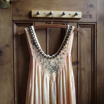 Boho hippie sun dress / UK 12US 10 / ombre 1970s retro maxi / vintage clothing / Dolly Topsy Etsy UK