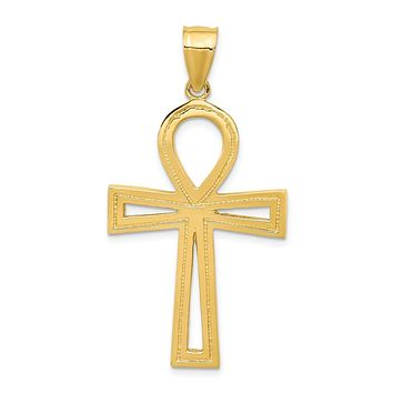 14k Yellow Gold Large Polished Ankh Cross Pendant, 23 x 45mm