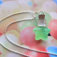 Glow in the Dark Green Resin Star Bottle Pendant Necklace