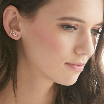 Curved Rhinestone Ear Pins