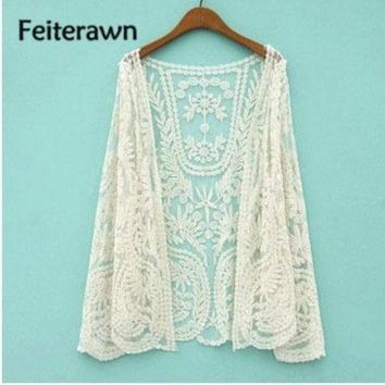 PEAPGC3 Feiterawn 2017 Women Summer Sexy Beach Lace Tunic Cardigan Hollow Out Floral Embroidery Sunscreen Smock Bikini Cover Up DY1015