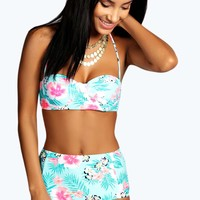 Hawaii Push Up Tropical Print Long Line Bikini