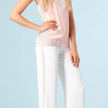 Pink White Lace Trimmed Silk Charmeuse Tank Top