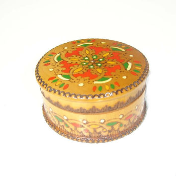 Vintage small sweet jewelry wooden box, retro box, handmade and hand painted box, pyrography box, oriental, ethnic