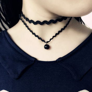 New Arrival Shiny Stylish Jewelry Gift Sexy Black Lace Mini Chain Pearls Double-layered Accessory Necklace [10417794452]