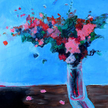 "Acrylic Still Life Painting Floral Original on Canvas ""Blue Room with Bouquet"""
