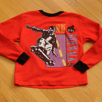 vintage 80s 90s skater shirt Surf the Sidewalk thrasher 1980 1990 skateboard long sleeve waffle XS extra small Lucky 7