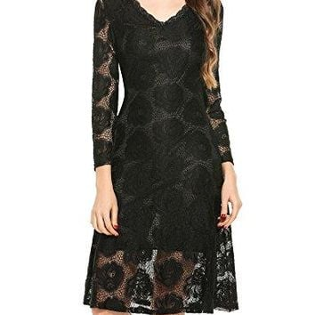 Elesol Women Fashion Slim V-Neck Long Sleeve Hollow Floral Lace A-Line Dress