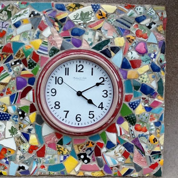 "Clock Mosaic Quilt Wall Decor 17"" x 17"" x 3"" OOAK HandmadeMothers day , Easter , Unique Gift, Home Decor , Housewarming"