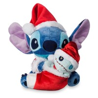 "Licensed cool Lilo & Stitch Scrump Holiday Christmas 6"" Plush Set 2017 Santa Hat Disney Store"