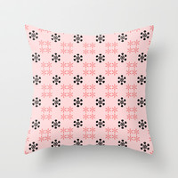 Pink black floral pattern Throw Pillow by cycreation