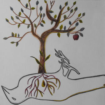 Mixed media, Drawing, Abstract, Tree, Bird, Nature, Original, Paper, Small, Metallic, Sketch, Artwork,