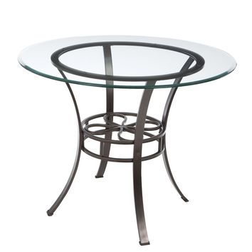 Round Glass Top Dining Table with Durable Metal Base
