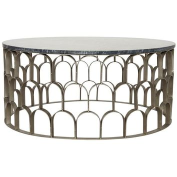 Toyla Coffee Table, Antique Silver, Metal and Stone