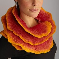 Sunrise Rose Scarf by Jenne Giles: Silk Wool Scarf | Artful Home