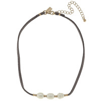 Canvas Leather Freshwater Pearl Choker