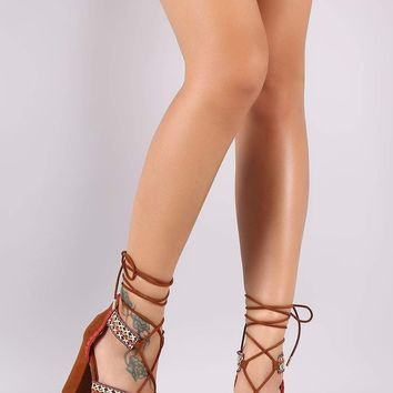 Bamboo Embroidered Straps Lace Up Chunky Heel