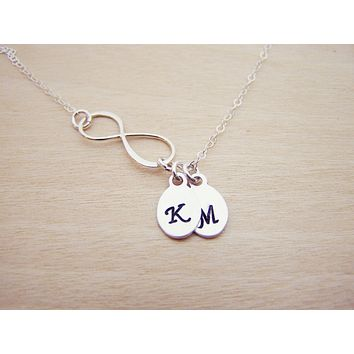 Sterling Silver Infinity Two Initial Hand Stamped Personalized Necklace / Gift for Her
